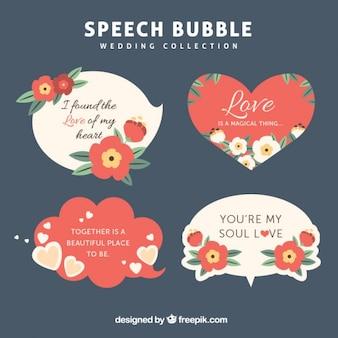 Discours vintage bulles avec des phrases d'amour