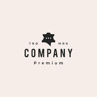 Discussion en cuir chat forum hipster logo vintage icône illustration vectorielle