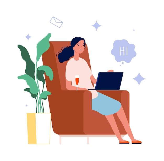 Discussion en ligne. femme avec verre à vin et ordinateur portable. illustration plate de dessin animé