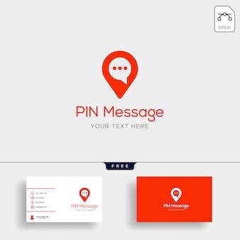 Discussion, message, discours, modèle de logo de conversation avec carte de visite