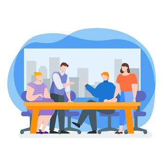 Discussion de travail en équipe