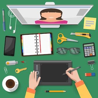 Discussions en ligne sur le lieu de travail vue de dessus