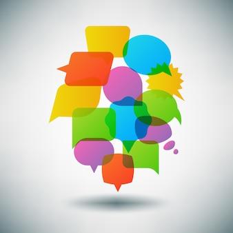 Discuter du concept de vecteur de bulle de dialogue, modèle infographique