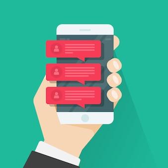 Discuter des notifications de message sur téléphone mobile, smartphone rouge discutant des discours de bulle