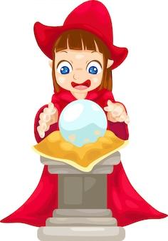 Diseuse de bonne aventure avec boule de cristal