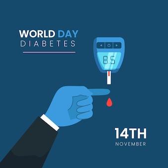 Dispositif de la journée mondiale du diabète design plat
