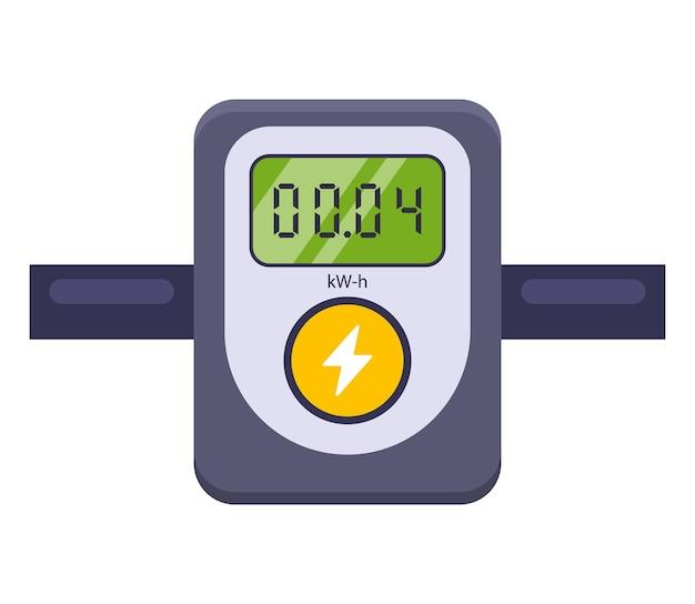 Dispositif de mesure de la consommation électrique. illustration plate isolée