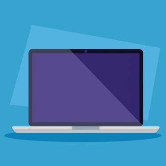Dispositif d'ordinateur portable sur fond bleu