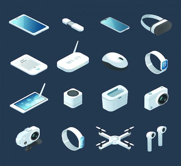 Dispositif de technologie numérique isométrique. sertie de gadgets électroniques, quadcopter