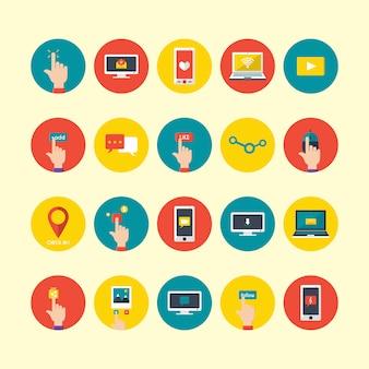 Dispositifs technologiques icônes collection