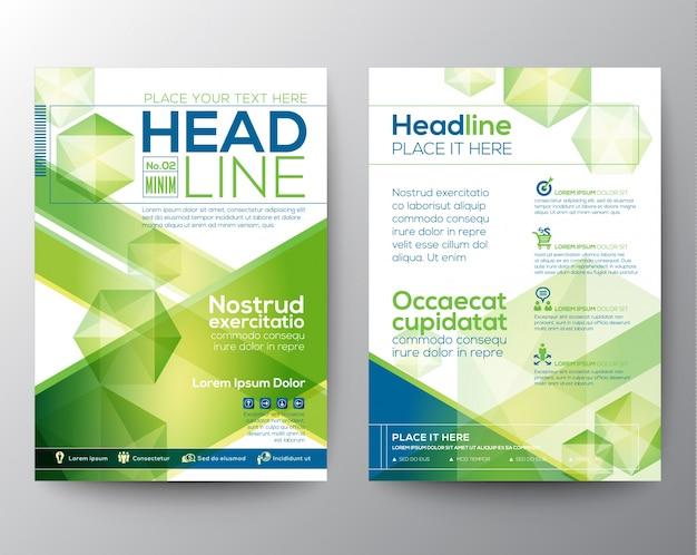 Disposition abstraite du modèle de conception de polygone pour la brochure du magazine couverture de brochure