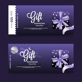 Disposition de bannière de bon-cadeau violet sertie de boîte-cadeau et remise