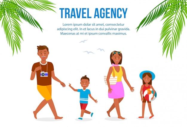Disposition de la bannière couleur avec agence de voyage avec espace de texte.