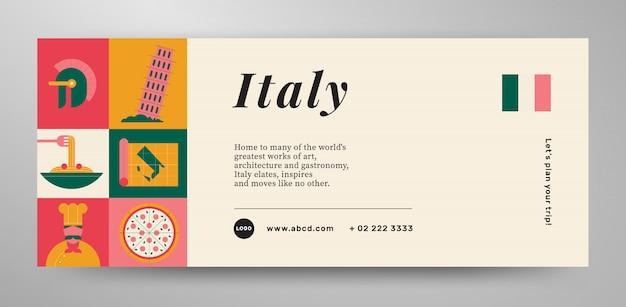 Disposition de la bannière de voyage en italie