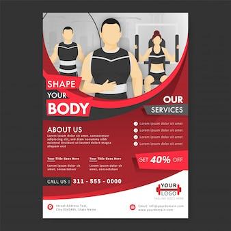 Disposition de la brochure avec offre de remise de 40% et caractère athlétique pour le centre de remise en forme ou le gymnase.