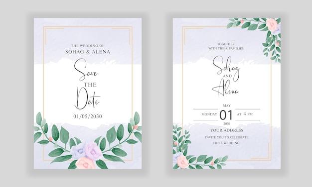 Disposition de carte d'invitation de mariage cool avec cadre de bouquet floral aquarelle dessin à la main