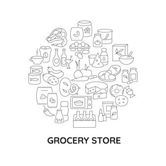 Disposition de concept linéaire abstrait de dépanneur alimentaire avec titre. idée minimaliste d'épicerie. dessins graphiques en ligne mince de produits frais. icônes de contour vectoriel isolé pour le fond