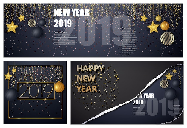 Disposition de conception de bonne année sur fond noir avec 2019. grand modèle de conception de carte de voeux.