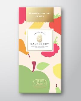 Disposition de conception d'emballage d'étiquettes de fruits secs.