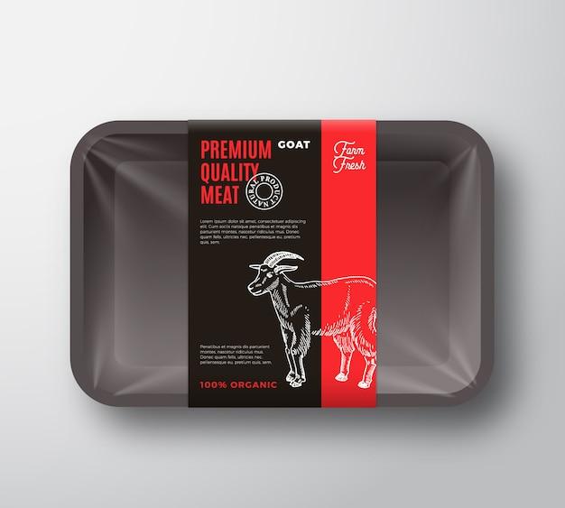 Disposition de conception d'emballage de viande de chèvre de qualité supérieure avec bande d'étiquette.