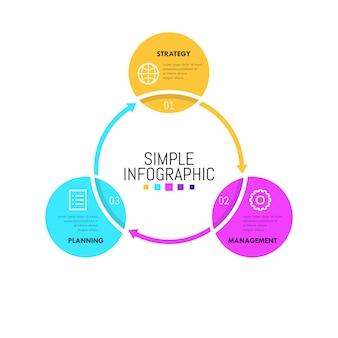 Disposition de conception infographique. diagramme de flux de travail rond avec cercles connectés successivement
