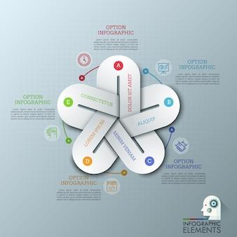 Disposition de conception infographique inhabituelle. cinq éléments colorés avec des lacunes reliées entre elles, des symboles de ligne mince et des zones de texte.