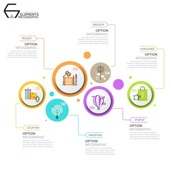 Disposition de conception infographique moderne, 6 éléments ronds avec pictogrammes