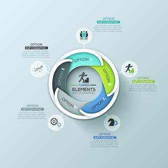 Disposition de conception infographique ronde créative avec des éléments superposés de 5 lettres