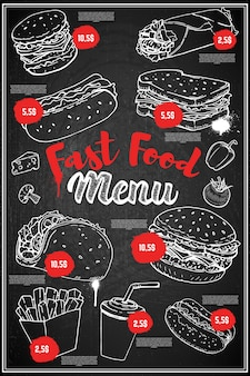 Disposition de la couverture du menu de la restauration rapide. tableau de menu avec des illustrations dessinées à la main de burger, hot dog, taco, burrito, soda.