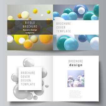 Disposition de deux modèles de couvertures pour brochure pliante carrée. sphères 3d multicolores réalistes, bulles, boules.