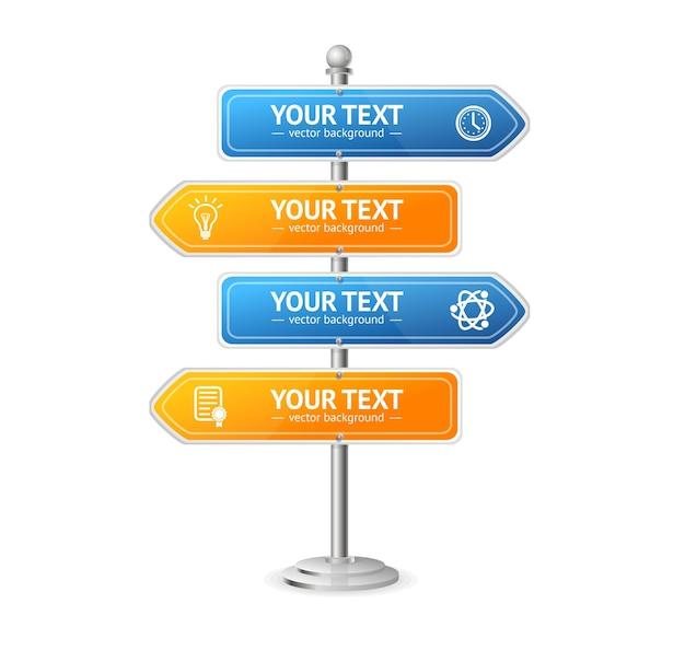 Disposition du menu des panneaux de signalisation routière et de rue pour votre entreprise. illustration vectorielle