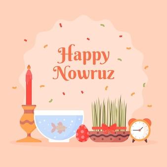 Disposition Des éléments De Design Plat Heureux Nowruz Vecteur Premium
