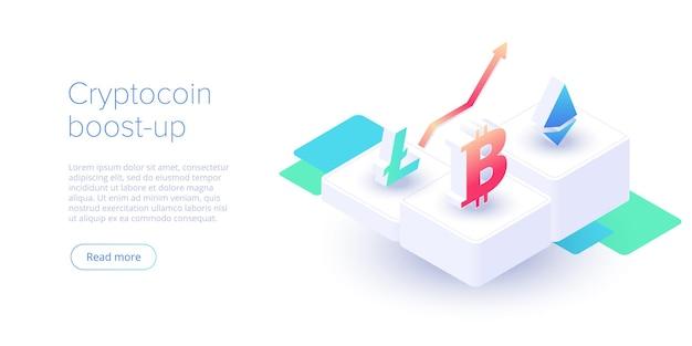 Disposition de la ferme minière cryptocoin crypto-monnaie et entreprise de réseau blockchain isométrique