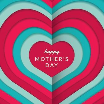 Disposition de la fête des mères heureuse avec roses, lettrage, papier découpé et fond de texture. illustration.