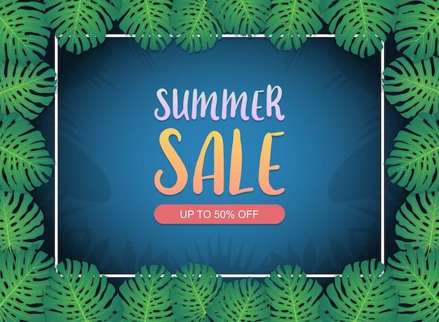 Disposition de fond de bannière de vente d'été