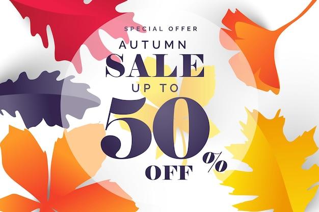 Disposition de fond de vente d'automne décorer avec des feuilles pour la vente d'achats ou une affiche promotionnelle et une feuille de cadre