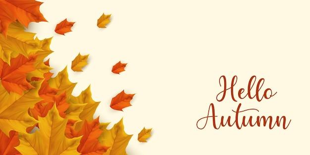 Disposition de fond de vente d'automne décorer avec des feuilles