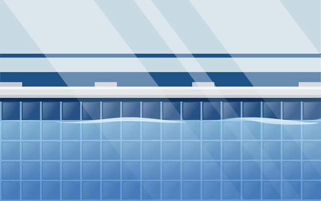Disposition horizontale de la piscine professionnelle avec vue côté eau illustration vectorielle plane