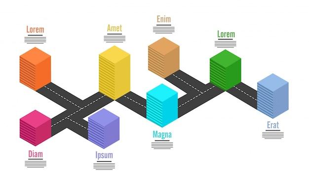 Disposition d'infographie graphique 3d avec eight (8) étapes.