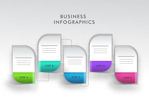 Disposition d'infographie style bannière avec un modèle à cinq étapes différentes