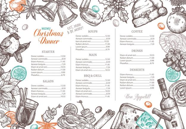 Disposition de joyeuses fêtes de noël du menu de fête pour un dîner de fête.