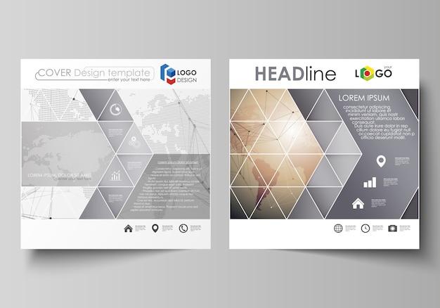 La disposition minimaliste de deux formats carrés couvre les modèles de brochure