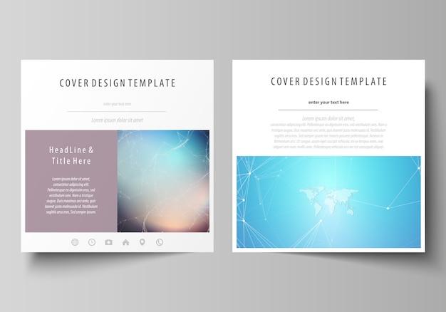 La disposition minimaliste de deux modèles de couvertures de format carré