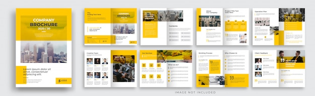 Disposition de modèle de brochure d'entreprise jaune de 16 pages