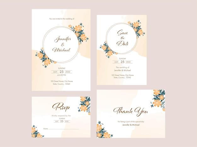 Disposition de modèle de carte d'invitation de mariage floral en quatre options.
