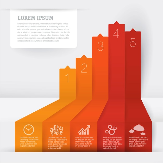 Disposition de modèle d'infographie de flèche pour l'infographie d'entreprise avec des icônes de marketing et des processus d'étapes étape par étape