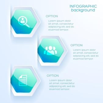 Disposition des options infographiques commerciales en style papier avec des marqueurs hexagonaux et un texte explicatif à plat