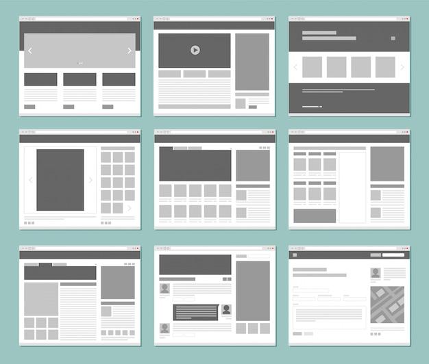 Disposition des pages web. fenêtres de navigateur internet avec modèle d'interface utilisateur d'éléments de site web