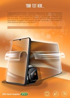 Disposition publicitaire d'un film protecteur pour illustration de gadgets mobiles