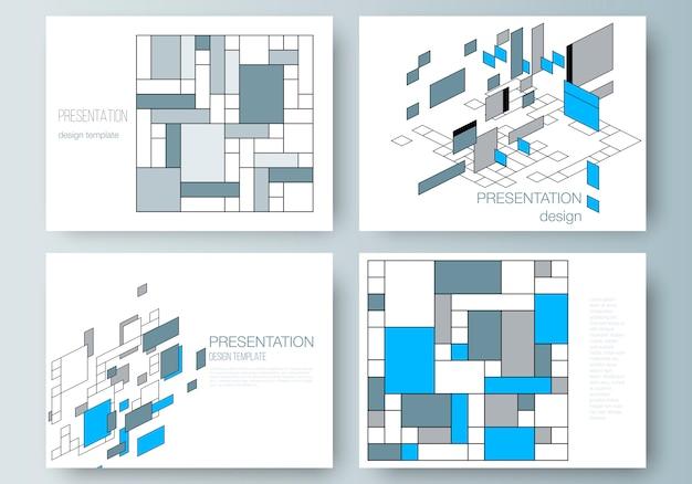 Disposition de vecteur des modèles d'affaires de présentation diapositives, abstrait polygonale